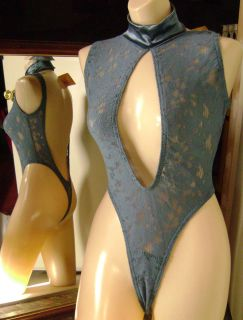 Women Empire Imtimates SEXY Thong Leotard OSFA NWT BLUE floral mesh