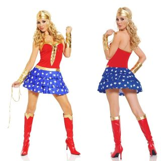 Gold Sexy Wonder Woman Halterneck Dress Costumes Cosplays Gothic Cheap