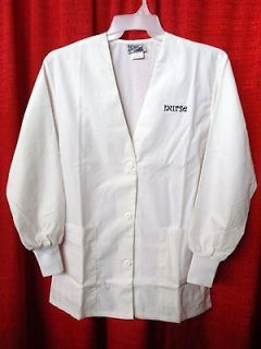 LADIES HALF LENGTH LAB COATS W/KNITCUFFS XS WITH NURSE $8.99 NEW