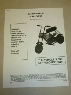 MANCO MINI BIKE MODEL 580 01 ASSEMBLY OPERATOR PARTS LIST MANUAL
