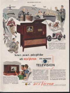 1955 Ad Big Color Television RCA Victor Christmas Tree   ORIGINAL