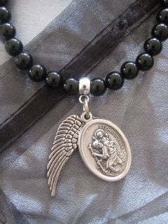 Blk Agate Bracelet w St Christopher & Angel Wing Charms