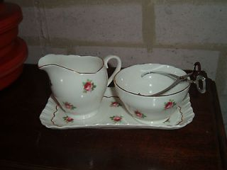 Adderley Fine Bone China cream pitcher sugar bowl & matching tray