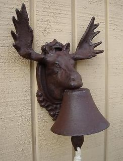 NEW cast iron rustic MOOSE ELK w ANTLERS dinner BELL ba