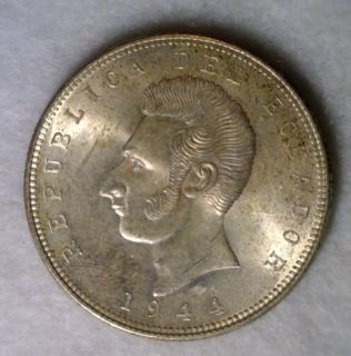 ECUADOR 5 SUCRES 1944 BRILLIANT UNCIRCULATED SILVER COIN
