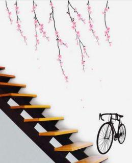 XL Bike & Cherry Blossom Wall Art Flower Decal Home Wall Paper