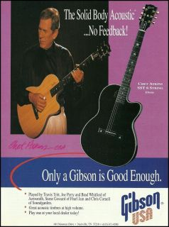 THE CHET ATKINS SST 6 STRING SOLID BODY GIBSON GUITAR AD 8X11