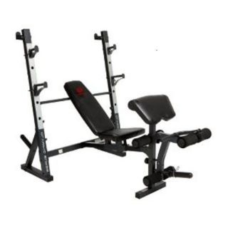 MD 857 Olympic Surge Weight Bench Squat Rack Chest Shoulders Bicep
