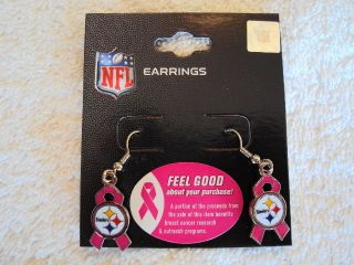PITTSBURGH STEELERS Logo Pink BCA Ribbon NFL Silver J Hook Dangle