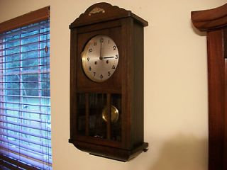 Antique Vintage Mahogany Mauthe Bim Bam Chime Art Deco Wall Clock