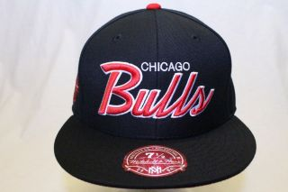 CHICAGO BULLS MITCHELL & NESS NBA FITTED HAT CAP SOLID WOOL BLACK