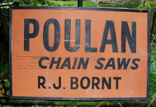 1940 50S POULAN CHAIN SAWS ADVERTISING SIGN LUMBERJACK / LOGGING