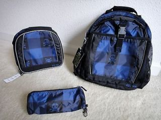 TCP Childrens Place Skull & Crossbones Backpack Lunch Box & Pencil