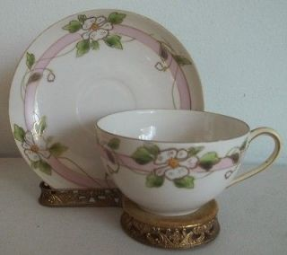 Nippon Japan hand painted fine bone china teacup,saucer.​pink,white