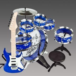 11 PCS Kids Drum Set Girl Musical Instrument Toy Blue Boys Music Band