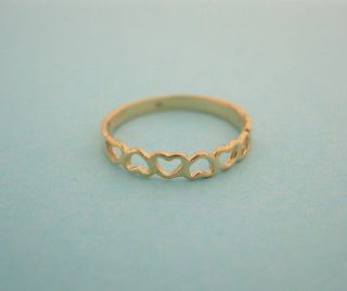 Solid Yellow Gold Heart Kids Ring Baby Childrens Size 3