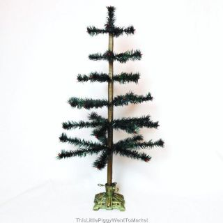 26 DARK GREEN FEATHER CHRISTMAS TREE with VINTAGE STYLE CAST IRON