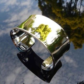 925 Sterling Silver Bracelet Bangle Wide Heavy Cuff Plain Broad Chunky