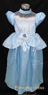 Girls Deluxe Cinderella Costume Princess Birthday Party Dress 6 8Y