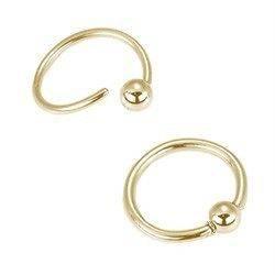 14KT Solid Gold Captive Nose Ring Hoop Septum 3/8 18G