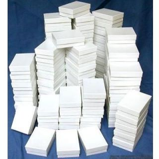 Cotton Filled Jewelry Gift Boxes White 3 1/4 100Pcs