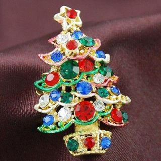 Multi Color Pine Christmas Tree Star Ornament Light Brooch Pin Gold
