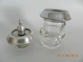 Vintage Sterling Silver & Glass Cigarette Table Lighter, Cig Cup Not