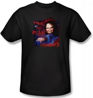 Ladies Childs Play 3 Chucky Doll Time To Play Horror T shirt top