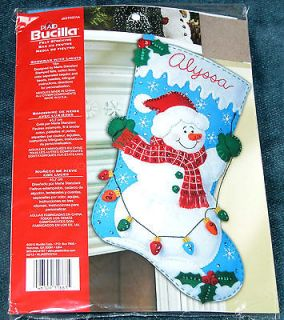 New Bucilla Snowman With Lights Jeweled Felt Christmas Stocking Kit