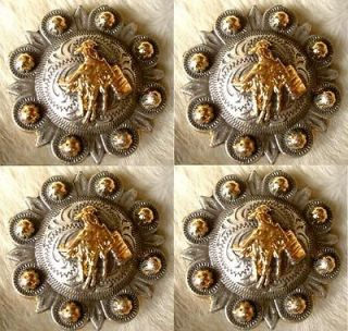 GOLDEN BARREL RACING CONCHOS HORSE SADDLE HEADSTALL TACK RODEO C09
