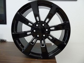 22 Cadillac Escalade Platinum Denali Wheels Rims Set Gloss Black