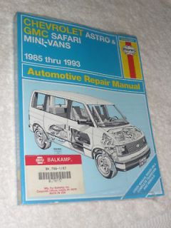 Haynes Chevrolet Astro GMC Safari Mini Vans 1985 thru 1993 Repair