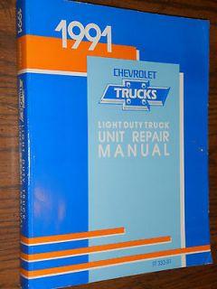 1991 CHEVROLET TRUCK UNIT REPAIR SHOP MANUAL / INC 454 SS / ORIGINAL