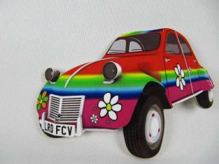 Citroen 2CV Car Flower Power Car Fridge Magnet Hand Cut Novelty Funky
