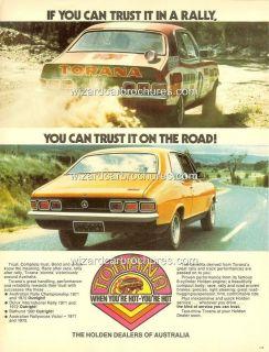 1973 LJ HOLDEN TORANA GTR XU1 HDT PETER BROCK RALLY A3 POSTER AD