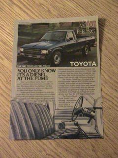 1982 TOYOTA TRUCK ADVERTISEMENT DIESEL FUEL AD 38 MPG