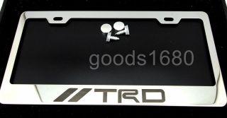 TRD TOYOTA Chrome Metal Stainless Steel License Plate Frame Holder FA