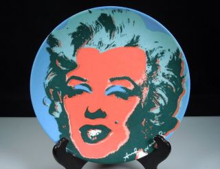 Block Marilyn Monroe Andy Warhol Plate  Orange Face