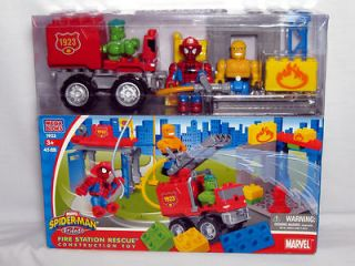Mega Bloks SPIDER MAN & Friends FIRE STATION RESCUE Toy The Thing HULK