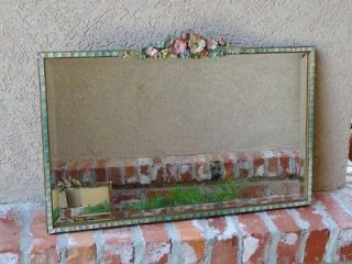 Large Antique English Barbola Gesso Frame Beveled Wall MIRROR