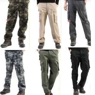 men military camo Army Fatigue Camouflage combat cargo work trousers