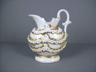 Antique Vintage Cream Pitcher Jug Floral Garlands Germany 4oz Gold