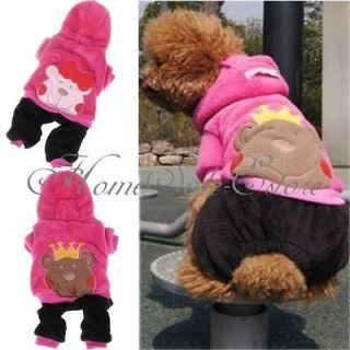 Bear Pet Dog Cat Winter Fleece Clothes Costumes Hoodie Hooded Jumpsuit