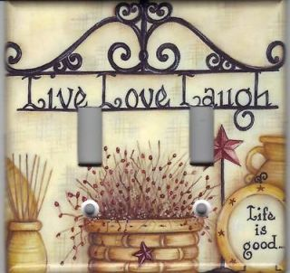 AMERICANA LIVE LOVE LAUGH DOUBLE LIGHT SWITCH PLATE