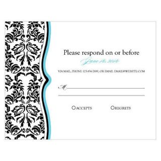 Personalized Love Bird Damask Rsvp Stationery Cards For Invitation
