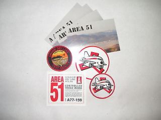 Area 51 lot of collectable items. Patches vehicle pass postcards