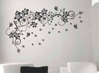 Butterfly Flower Tree Swirl Vine Wall Art Stickers Decal Large