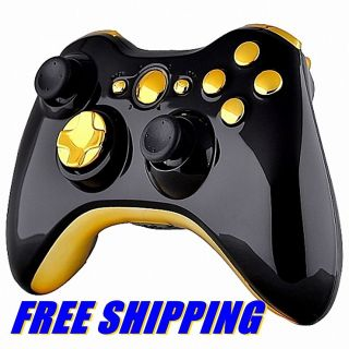 Custom XBOX 360 BLACK Wireless Controller Shell Case and CHROME GOLD