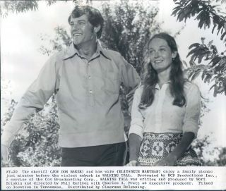 1973 Actors Joe Don Baker & Elizabeth Hartman in Movie Walking Tall