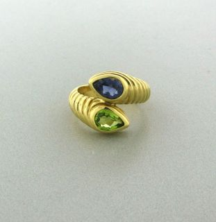 BVLGARI BULGARI 18K YELLOW GOLD PEAR SHAPE PERIDOT AND IOLITE RING